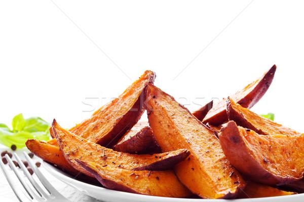 Zoete aardappel vers gebakken voedsel oranje Stockfoto © IngaNielsen