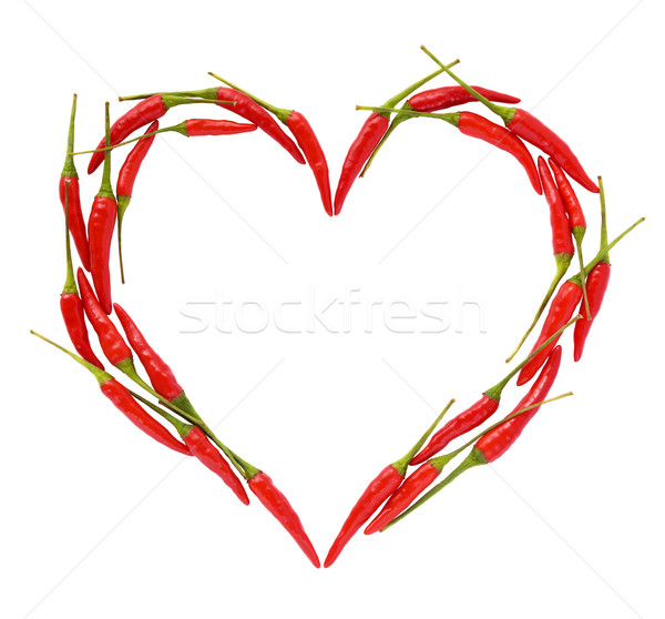 Chili peppers heart Stock photo © IngaNielsen
