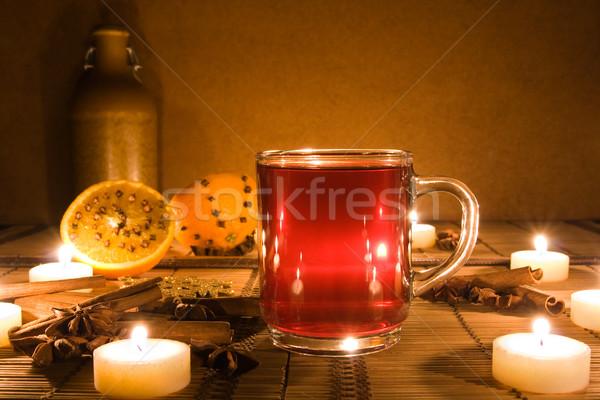 Wijn kaarsen beker kaars licht ingericht Stockfoto © IngaNielsen