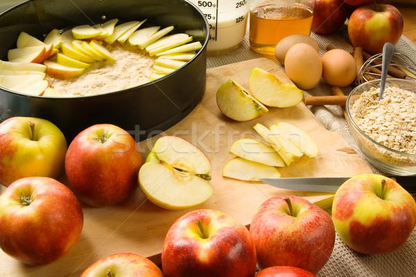 Apple pie preparation Stock photo © IngaNielsen