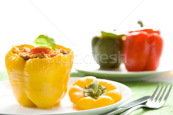 Gevuld paprika Geel rijst vlees Stockfoto © IngaNielsen