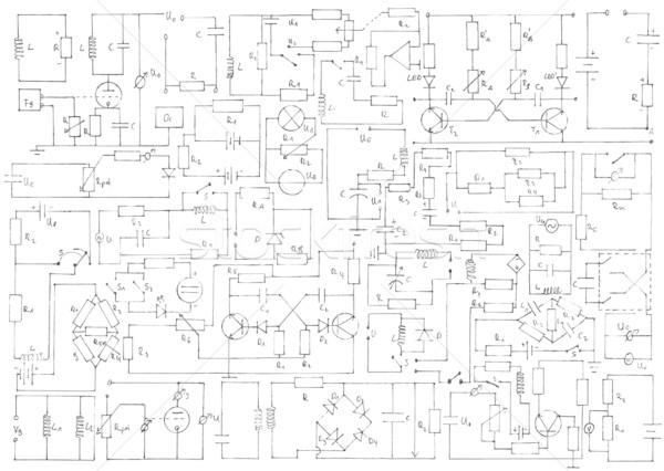 электроника различный рисованной электрические бумаги науки Сток-фото © IngaNielsen