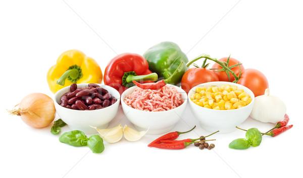 Chili ingredients on white Stock photo © IngaNielsen