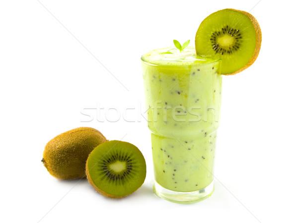 Kiwi smoothie glas groene vers geïsoleerd Stockfoto © IngaNielsen