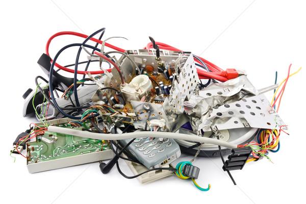 Elektronische afval klein hoop gemengd kabel Stockfoto © IngaNielsen