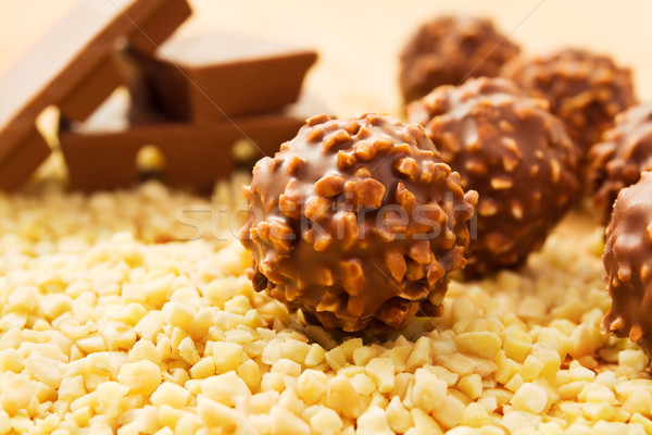 Chocolate candy with nuts Stock photo © IngaNielsen