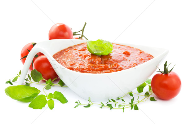 Tomato sauce on white Stock photo © IngaNielsen