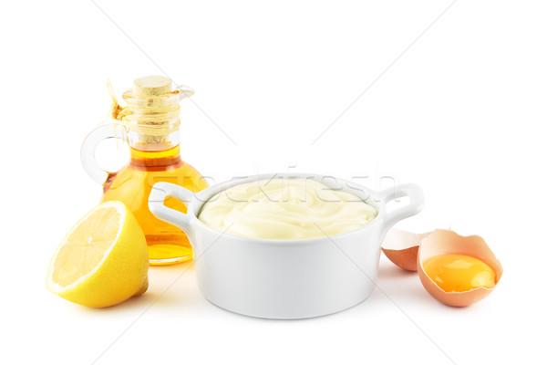 Mayonez malzemeler çanak ana yağ yumurta Stok fotoğraf © IngaNielsen