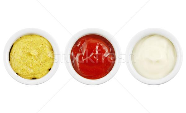 горчица кетчуп майонез кегли изолированный белый Сток-фото © IngaNielsen