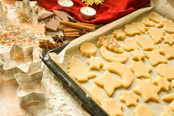 Raw Christmas cookies Stock photo © IngaNielsen