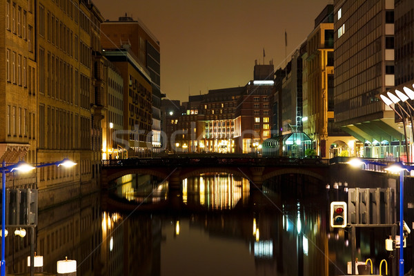 Channel through city at night Stock photo © IngaNielsen