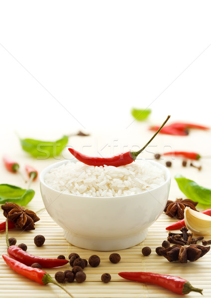 Rice and spices Stock photo © IngaNielsen