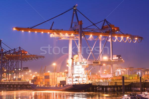 Containerschip container vrachtschip nacht kraan beweging Stockfoto © IngaNielsen