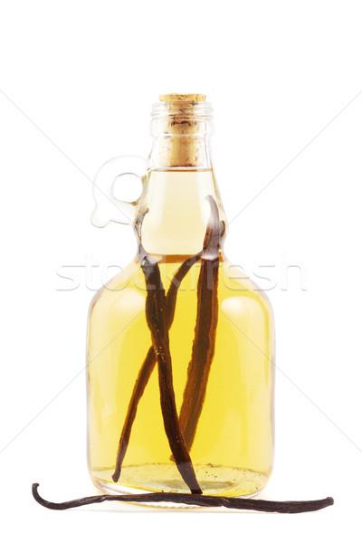 Vanille likeur fles essence witte glas Stockfoto © IngaNielsen