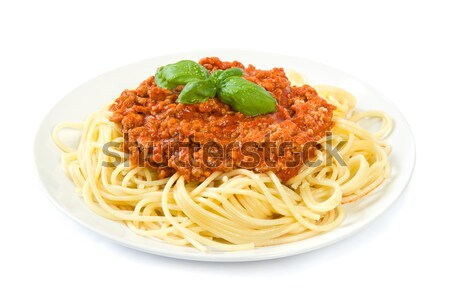 Spaghetti bolognese on white Stock photo © IngaNielsen