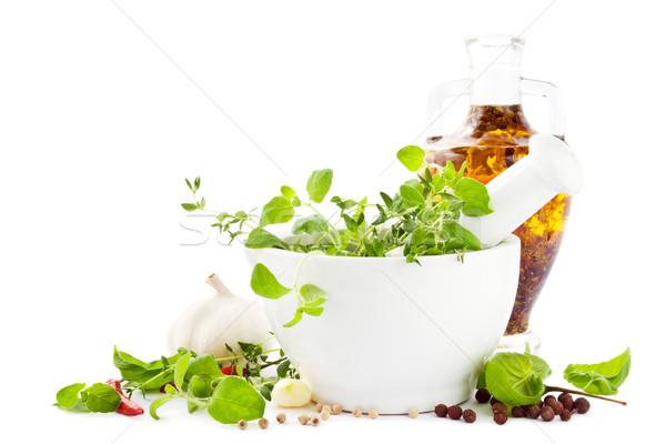 Kruiden olie vers groene specerijen knoflook Stockfoto © IngaNielsen