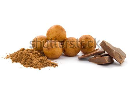 Marcipán krumpli krumpli golyók csokoládé kakaó Stock fotó © IngaNielsen