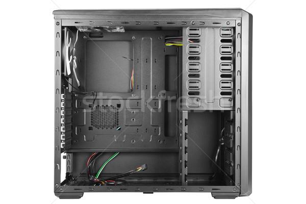 üres számítógép tok oldalnézet fekete fém Stock fotó © IngaNielsen