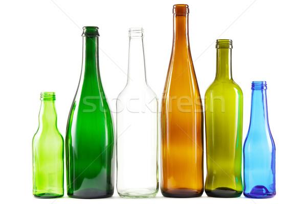 Vidrio botellas mixto colores verde blanco Foto stock © IngaNielsen