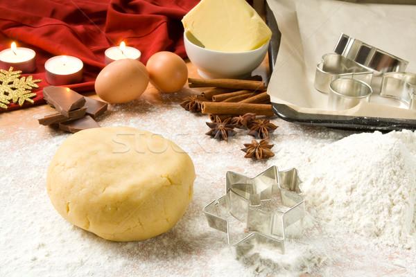 Baking Christmas cookies Stock photo © IngaNielsen