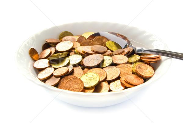 Stockfoto: Eten · geld · witte · kom · lepel · euro