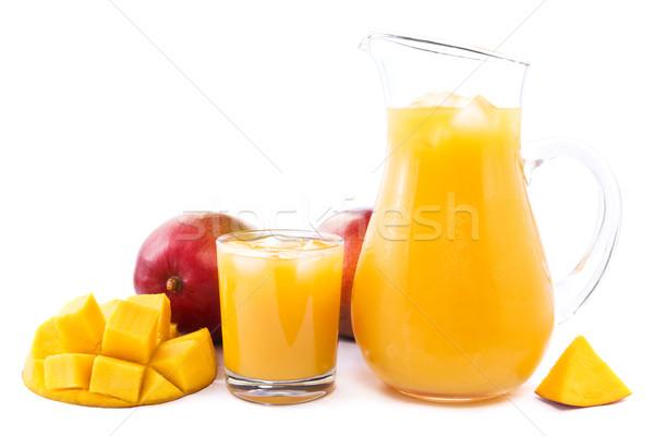Mango sap glas vol vers Stockfoto © IngaNielsen