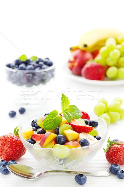 フルーツサラダ 桃 ブルーベリー ブドウ イチゴ バナナ ストックフォト © IngaNielsen