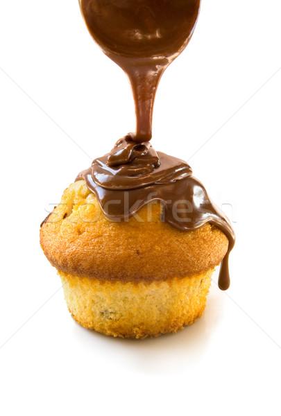 Muffin with chocolate Stock photo © IngaNielsen