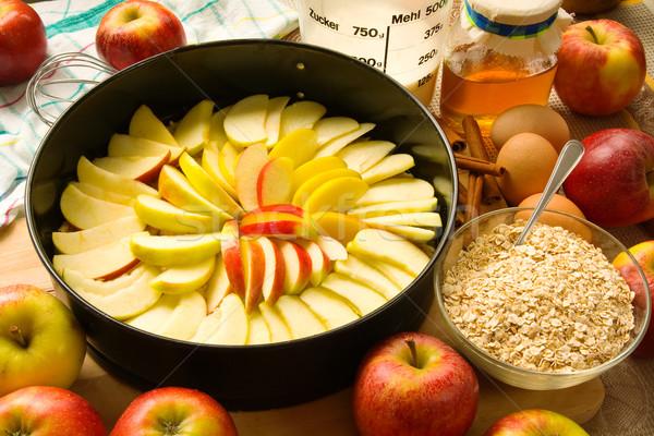 Sütés almás pite almák egyéb hozzávalók étel Stock fotó © IngaNielsen