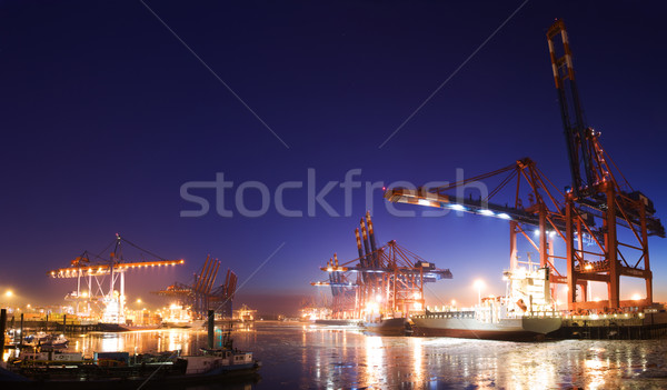Harbor at night Stock photo © IngaNielsen