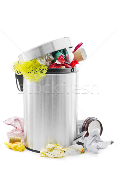 полный мусорное ведро белый бумаги очистки мусор Сток-фото © IngaNielsen