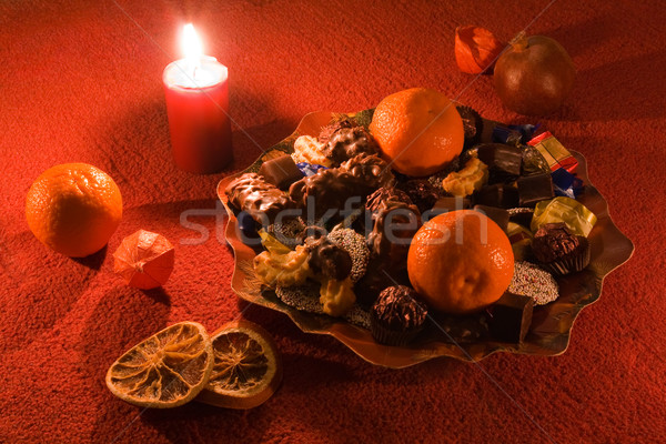 Plate with Christmas treats Stock photo © IngaNielsen
