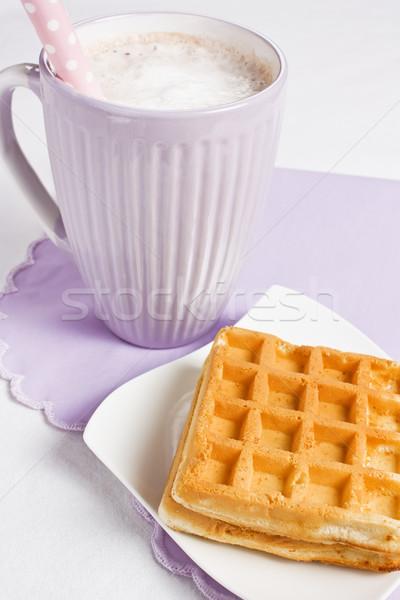 Finom waffle csésze étel üveg torta Stock fotó © IngridsI