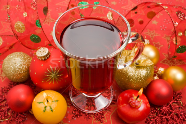 Winter hot thee aroma kaars christmas Stockfoto © IngridsI