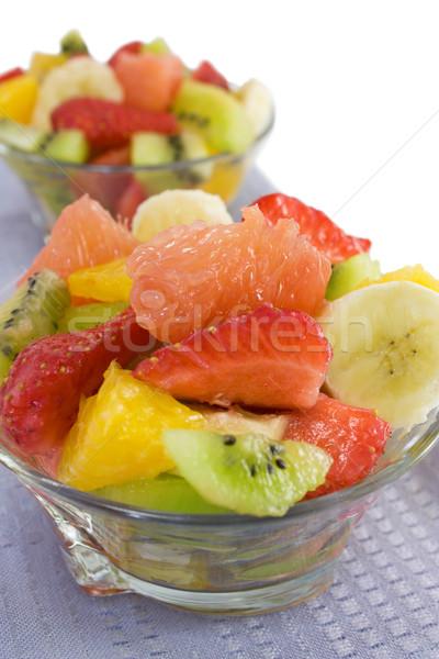 Gyümölcssaláta fehér közelkép szövet piros eper Stock fotó © IngridsI