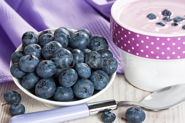 áfonya joghurt érett friss egészséges reggeli Stock fotó © IngridsI