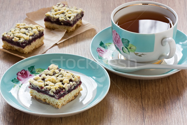 Crumble pie and cup tea Stock photo © IngridsI