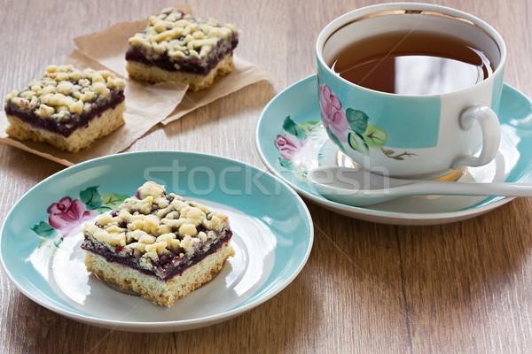 Pite csésze tea házi készítésű fekete ribiszke Stock fotó © IngridsI