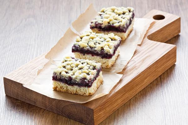 Preto groselha torta barras caseiro delicioso Foto stock © IngridsI
