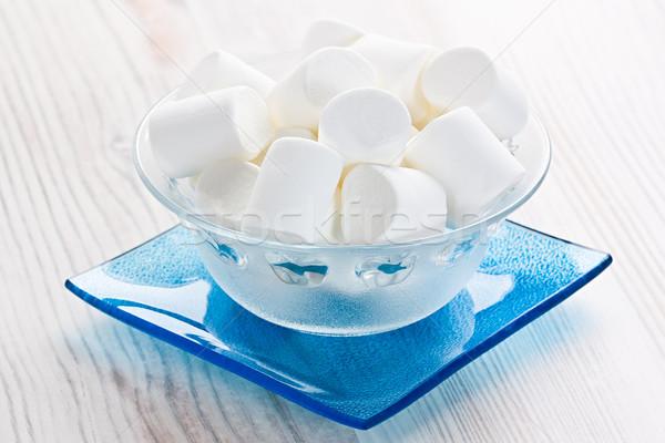 Mályvacukor édesség cukorkák üveg tál fából készült Stock fotó © IngridsI