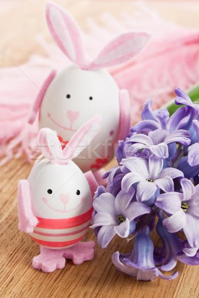 Húsvét nyúl tojás dekoráció virág toll Stock fotó © IngridsI