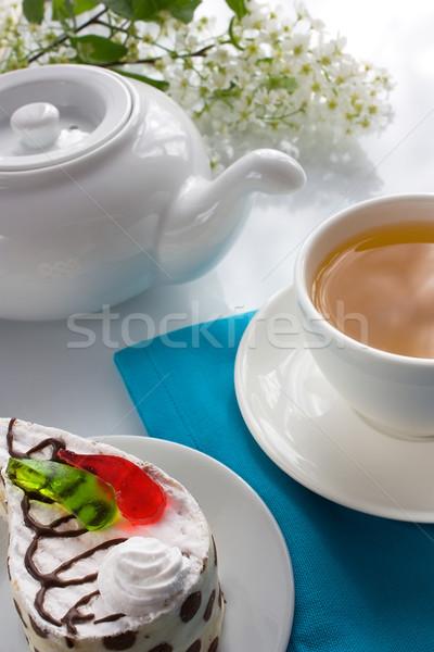 Csésze teáscsésze tea piskóta darabok színes Stock fotó © IngridsI