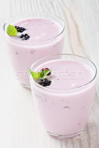 Yogurt with sweet dewberry Stock photo © IngridsI