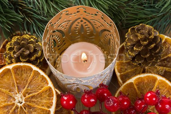 Christmas kaars gedroogd oranje pine Stockfoto © IngridsI
