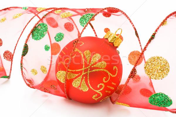 Piros karácsony labda spirál szalag dekoráció Stock fotó © IngridsI