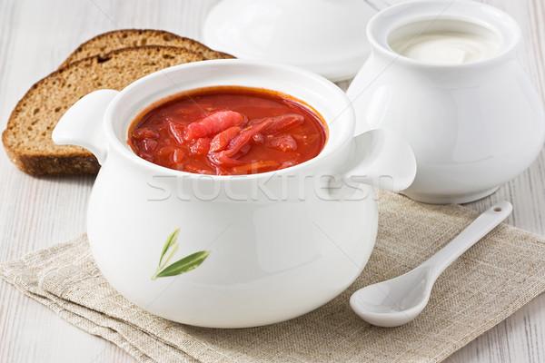 Cékla leves piros tejföl fehér tál Stock fotó © IngridsI