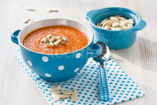 Sütőtök leves magok kék tál fából készült Stock fotó © IngridsI