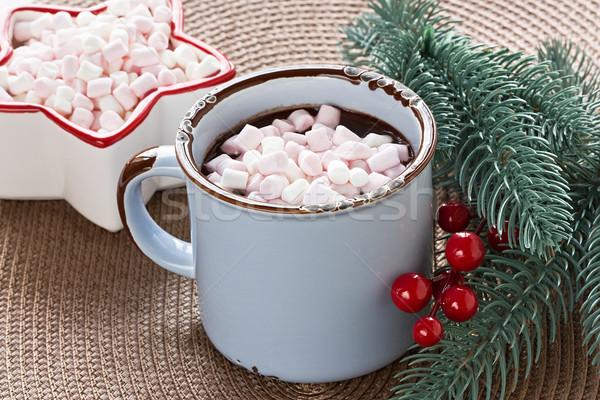 Chocolate quente marshmallow azul caneca inverno beber Foto stock © IngridsI
