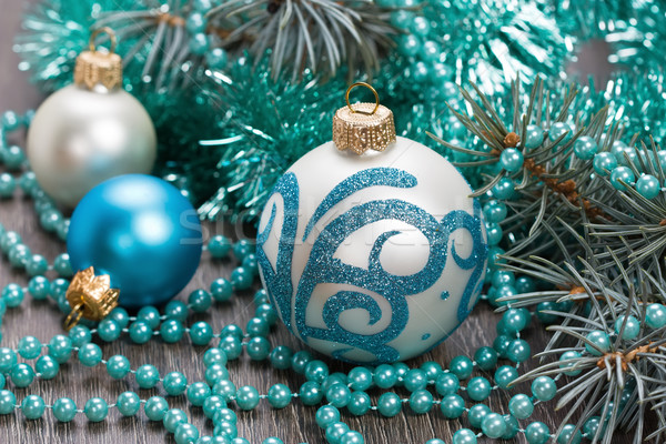 Christmas blue balls and beads decorations Stock photo © IngridsI