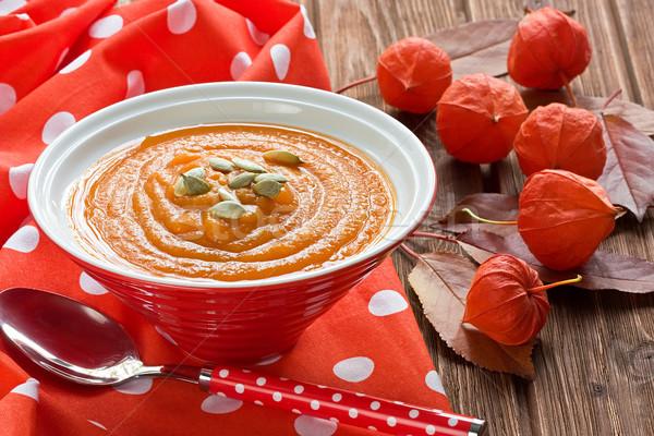 Pompoen soep zaden honing Rood rustiek Stockfoto © IngridsI